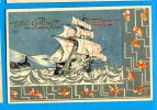 GG369, Bonne Année, Bateau, Voilier, Boat, Schiff, Nave, Fantaisie, Circulée 1940 - New Year