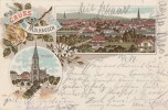 Litho Gruss Aus Mülhausen I. E. Gelaufen 16.5.97 - Elsass