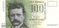 BILLETE DE FINLANDIA DE 100 MARKKAA DEL AÑO 1986  (BANKNOTE) BIRD-PAJARO - Finland