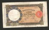 [CC]  REGNO D' ITALIA - 50 Lire LUPETTA I° Tipo (Decr. 29/12/1939 - Firme: Azzolini/Urbini) Fascio - 50 Lire