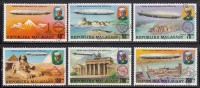 Malagasy Republic Used Scott #545-#548, #C158-#C159 Set Of 6 Zeppelins - 75th Anniversary - Madagascar (1960-...)