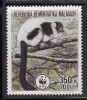 Malagasy Republic MNH Scott #839 350fr Varecia Variegata Variegata - World Wildlife Fund Fund - Madagascar (1960-...)