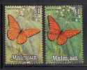 Malaysia Used Scott #70 $1 Orange Albatross Butterfly Variety: Left Stamp Missing Dark Green; Right Normal - Malaysia (1964-...)