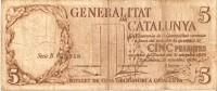 BILLETE DE ESPAÑA DE 5 PTAS DE LA GENERALITAT DE CATALUNYA  DEL AÑO 1936 (BANKNOTE) - [ 2] 1931-1936 : Republic