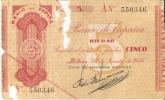 BILLETE DE ESPAÑA  5 PTAS DEL BANCO DE BILBAO AÑO 1936 SERIE A (BANKNOTE) FIRMA CAJA DE AHORROS VIZCAINA - 5 Pesetas