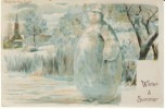 Winter & Summer Scenes, Snowman, C1900s Vintage Hold To Light Postcard - Hold To Light