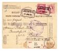 Heimat VD Lausanne 31.1.1890 Im Kasten Auf Paketkarte Mit Mischfrankatur 1Fr. Stehende Mit 10Rp Ziffer Nach Pforzheim - 1854-1862 Helvetia (Non-dentelés)