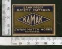 India KAMAK Safety Match Box Label # MBL121 - Matchbox Labels
