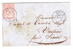 Heimat VD Aigle 10.9 Doppelkreis Stempel (1861) 15Rp. Strubel Rosa #24G Auf Brief Nach Venthône/Sierre Attest Berra - 1854-1862 Helvetia (Non Dentellati)