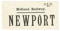 Railway Luggage Label Midland Newport Monmouthshire - Railway