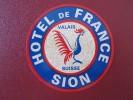 HOTEL PENSION GASTHOF FRANCE SION VALAIS SWISS SWITZERLAND SCHWEITZ STICKER DECAL LUGGAGE LABEL ETIQUETTE AUFKLEBER - Hotel Labels