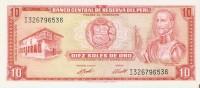 BILLETE DE PERU DE 10 SOLES DE ORO DEL AÑO 1973  (BANKNOTE) SIN CIRCULAR-UNCIRCULATED - Pérou