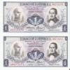 PAREJA CORRELATIVA DE COLOMBIA DE 1 PESO DE ORO DEL AÑO 1974  (BANK NOTE) SIN CIRCULAR-UNCIRCULATED - Colombia