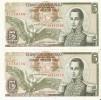 PAREJA CORRELATIVA DE COLOMBIA DE 5 PESOS DE ORO DEL AÑO 1965  (BANK NOTE) SIN CIRCULAR-UNCIRCULATED - Colombia