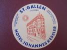 HOTEL PENSION GASTHOF INN JOHANNES ST GALLEN SWISS SWITZERLAND SCHWEITZ STICKER DECAL LUGGAGE LABEL ETIQUETTE AUFKLEBER - Hotelaufkleber