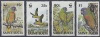 WWF -  ST LUCIA   - BIRDS - PARROTS - 1987- 4  V. -MNH  - - Ongebruikt