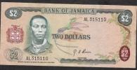 JAMAICA   P55a 2 DOLLARS 1970 #AL   Signature 3    XF - Jamaica
