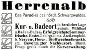 Original-Werbung/ Anzeige 1909 -  HERRENALB / SCHWARZWALD - Ca. 65 X 40 Mm - Werbung