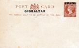 NATAL Mit Überdruck GIBRALTAR 1886 - Half Penny Ganzsache Ungelaufen, Sehr Selten (wurden Im Jahr 1886 Die Ersten Ganzsa - Gibraltar
