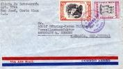 COSTA RICA 1949? - 35 + 45 Centimos Auf LP-Brief Gel.v.San Jose N. Neustadt B.Coburg - Costa Rica