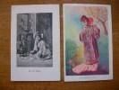 2 Cartes Silhouettes Ou Portraits De Femmes Japonaise - Silhouettes