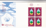 1977 UN Gerneve FDC Corner BLOCK Of 4x WORLD WATER CONFERENCE  Stamps United Nations Environment Cover - Environment & Climate Protection