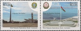 BRAZIL - SE-TENANT JOINT ISSUE BRAZIL/AZERBAIJAN 2015 - MNH - Unused Stamps