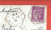 Sur C.P.A. Cachet Postal De TERVILLE Du 1/1 /1936 - Marcofilie (Brieven)