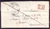 """INDRE & LOIRE - LAC - Tàd T12 LANGEAIS + """"P.P."""" Rouge Pour Saumur (47), Au Verso Taxe 2 - Postmark Collection (Covers)"""