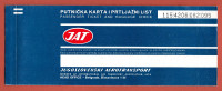 JAT ( Yugoslav Airlines ) vintage ticket flight BRUXELLES (Brussels Belgium) : ZAGREB : SPLIIT * billet biglieto billete
