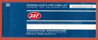 JAT ( Yugoslav Airlines ) Vintage Ticket Flight BRUXELLES (Brussels Belgium) : ZAGREB : SPLIIT * Billet Biglieto Billete - Tickets