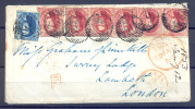 Brief Oostende 1853 met 6 X 40 cent. Spectaculair
