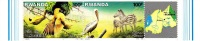 A] Timbres Stamps ** Rwanda Se-tenant Vignette Label Parc De L' Akagera Park Animaux Animals Zebre Zebra - Rwanda