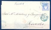 1870 , CORUÑA , ENVUELTA CIRCULADA ENTRE FERROL Y RIBADEO, FECHADOR AZUL DEL FERROL Y LLEGADA AL DORSO - 1868-70 Gobierno Provisional