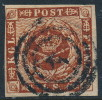 Denmark Danemark Danmark 1862: 4sk Brown Imperf Wmk II, Fine Used (DCDK00247) - Used Stamps