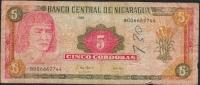 NICARAGUA P180  5  CORDOBAS  1995  FINE,writings - Nicaragua
