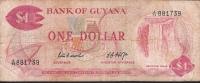 GUYANA  P21d  1  DOLLAR  1966  Signature 5 FINE - Guyana