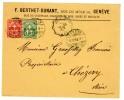 SUISSE ENV 1899 GENEVE  N°66 ET 67 TARIF RL RAYON LIMITROPHE A 15C 1ER ECHELON => CHEZERY AIN FRANCE  VERSO CACHET A DAT - Briefe U. Dokumente