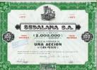 "URUGUAY ACCIONES SHAREHOLDING TITRES ""SEDALANA S.A"" AÑO 1947 UNA ACCION DE CIEN PESOS  STAMP TIMBRE TBE GECKO - Industrie"