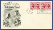 UNITED NATIONS 1966 FDC FIRST DAY COVER MNH HONORING 20th ANNIVERSARY OF CHILDREN'S FUND - Timbres