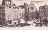 CPA  Animée (43)  LANGEAC La Place De L' Eglise Un Jour De Foire Marchands Ambulants - Langeac