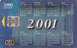 COSTA RICA - Calendar 2001, ICE Tel telecard, 01/01, used