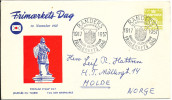 Denmark cover Stamp�s Day Randers 10-11-1957 with cachet sent to Norway