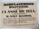 TOURS - LA ROCHE SUR YON - Remplacements Militaires, Classe de 1834 - M. Oury Salomon, N�gociant ( en Jeunes Gens ? )