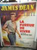 GRANDE AFFICHE DE FILM   DE JAMES DEAN  LA FUREUR DE VIVRE  1m17 X 1m58    PLIEE BON ETAT GENERAL