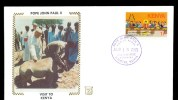 KENYA * FDC VISIT POPE JOHN PAUL II 1985 * RHINO * ON SILK - Kenia (1963-...)