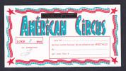 Carte Invitation Cirque Bouglione American Circus Pour 2 Places En Loge - Tickets - Vouchers