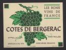 Etiquette De Vin   Côtes De Bergerac -  Thème Grappe De Raisin  -  Lévêque Et Cie  à  Ernée  (53) - Etiquettes