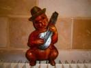 STATUETTE BOIS  CHAT JOUANT MUSIQUE 25 CM - African Art