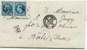RHONE De NEUVILLE SUR SAONE LSC Du 16/02/1870 Pour BALE Avec N°29 En Paire Oblitérés GC 2647+ Cachet PD - 1849-1876: Klassik